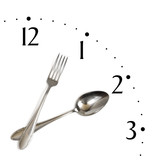 Fototapety Clock made of spoon and fork, isolated on white background