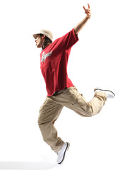 hip-hop dancer posing on a white background