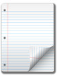 Pages of wide ruled notebook paper - page curl, drop shadow