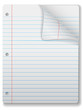 Pages of wide ruled notebook paper - page curl, shadow