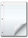 Pages of wide ruled notebook paper - page curl, drop shadow poster