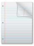 Pages of wide ruled notebook paper - page curl, shadow poster