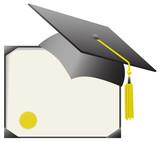 Mortarboard Graduation Cap & Diploma Certificate poster