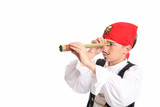 A pirate using a spotting scope to search for ships afar poster