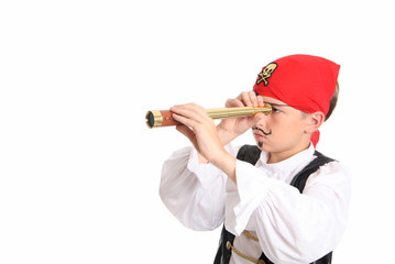 A pirate using a spotting scope to search for ships afar