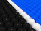 Two divided groups of 3d balls poster