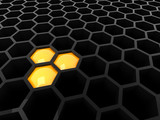 3d black abstract honeycomb poster