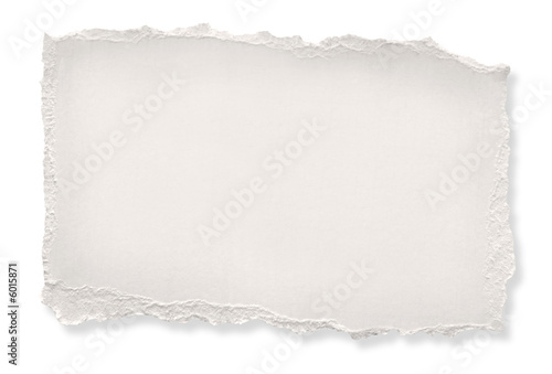 Torn off-white paper.  Clipping path included. - 6015871