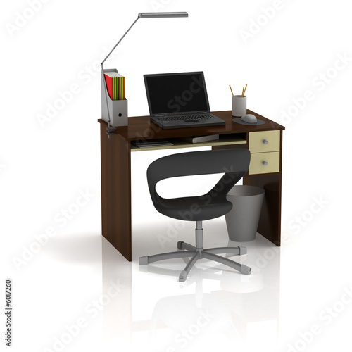Table Office. Side View. 3D render.
