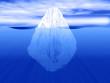Leinwanddruck Bild - 3D render of an iceberg partially submerged in water
