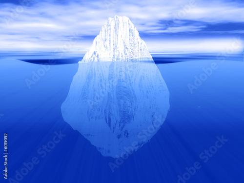 Leinwanddruck Bild 3D render of an iceberg partially submerged in water