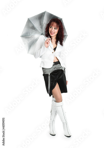 The beautiful girl in white. On a white background