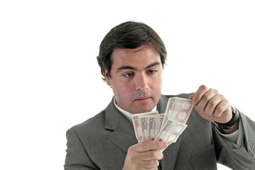 young business man a over white background