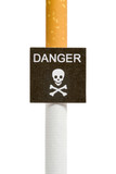 Imitation danger signboard, on cigarette, isolated poster
