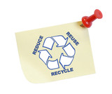 thumb tacked note with reduce reuse recycle poster