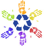 many colorful hands recycling on community or global level poster