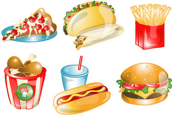 Illustrations of different fast foods icons