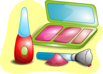 Illustrations of different beauty products
