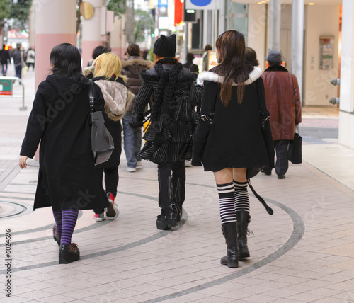 Gothic girls group walking in a Japanese city street