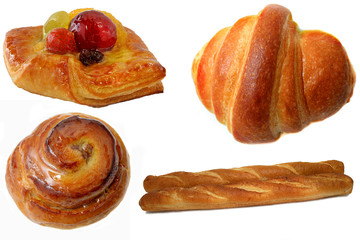 fruit cake,croisant,danish and french bread