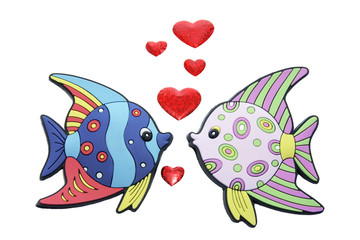 Tropical Fishes with Love Hearts on White Background