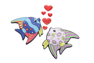 Tropical Fishes and Love Hearts on White Background