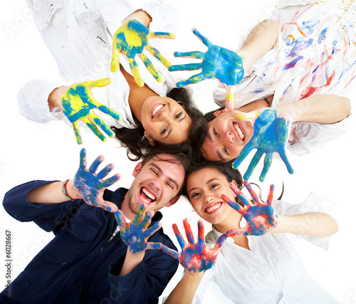 happy friends having fun with paint isolated over