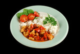 Spicy chicken lentil and pepper stew with rice  poster