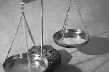 Scales of justice close up, shallow dof
