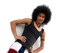 Portrait of a young Thai man with an afro isolated. poster