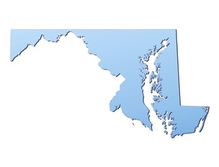 Maryland(USA) map filled with light blue gradient