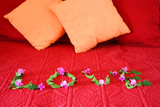 Love spelled out with flowers on bed poster