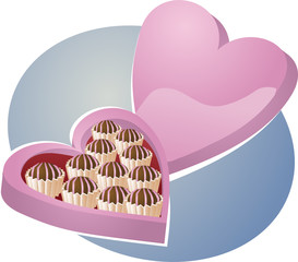 Heart-shaped box of chocolates. Vector isometric illustration