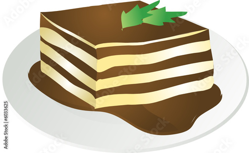 Illustration of a helping of tiramisu, with chocolate sauce