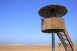 Man in a birdwatching tower (Punta del Fangar,  Spain) poster
