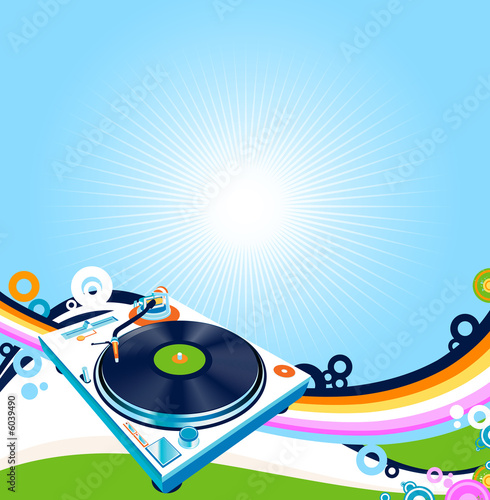 abstract design with turntable and rainbow