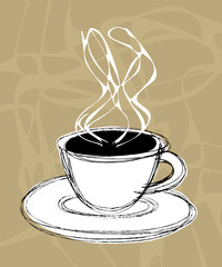 vector illustration sketch of a cup of hot coffee and steam