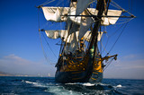 Vintage Sailing Ship at Sea under full sail - 6041241