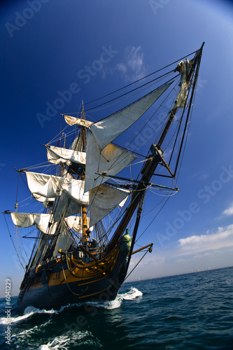 Vintage Sailing Ship at Sea under full sail