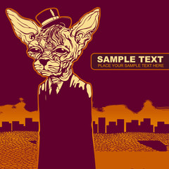 vector grunge background with a cat in a hat , CD cover