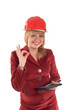 "A businesswoman in a helmet showing sign ""OK"""