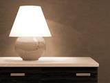 Lamp on bureau 3D rendering poster