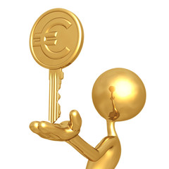 Gold Euro Coin Key