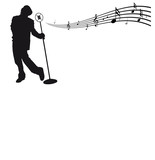 Singer with microphone and musical notes - vector illustration poster