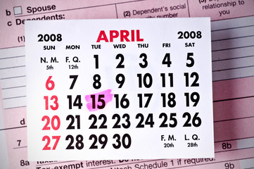 Calendar Depicting the U.S. Tax Deadline