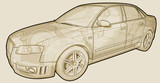 Perspective sketchy illustration of an Audi A4. poster