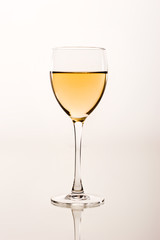 drink series: white wine glass over white