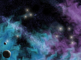 space scene with planets and smoky wispy nebula poster
