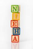 amuser apprendre bois cube empiler enfant jouer jouet  poster