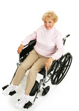 Beautiful, optimistic senior lady in a wheelchair.  Full body poster